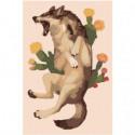 Кричащий волк с цветами Раскраска картина по номерам на холсте