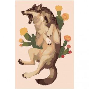 Кричащий волк с цветами 80х120 Раскраска картина по номерам на холсте