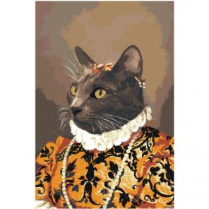 Кот в средневековом костюме 100х150 Раскраска картина по номерам на холсте