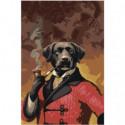 Портрет собаки с трубкой 80х120 Раскраска картина по номерам на холсте