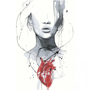 Девушка с сердцем Раскраска картина по номерам на холсте
