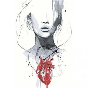 Девушка с сердцем 80х120 Раскраска картина по номерам на холсте