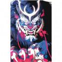 Синяя японская маска демона Раскраска картина по номерам на холсте