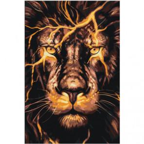 Огненный лев Раскраска картина по номерам на холсте