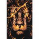 Огненный лев 80х120 Раскраска картина по номерам на холсте