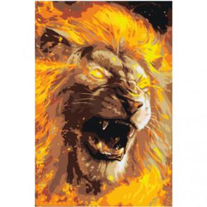 Рычащий огненный лев Раскраска картина по номерам на холсте