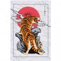 Тигр в японском стиле Раскраска картина по номерам на холсте
