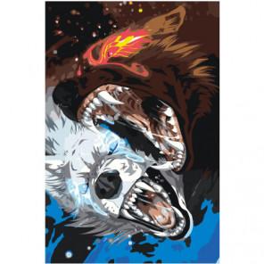 Волки Хати и Сколль 100х150 Раскраска картина по номерам на холсте