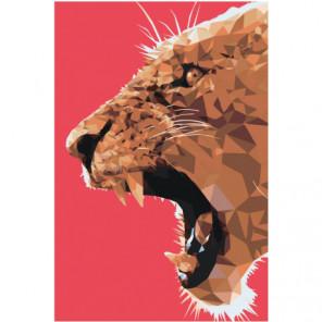 Львица полигональная Раскраска картина по номерам на холсте