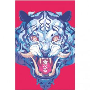 Синий тигр в азиатском стиле Раскраска картина по номерам на холсте