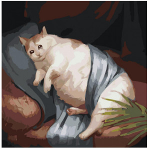 Толстый котик Раскраска картина по номерам на холсте