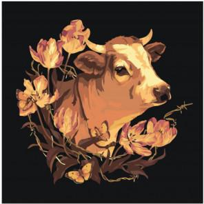 Бык с цветами Раскраска картина по номерам на холсте