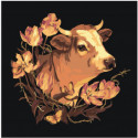 Бык с цветами 100х100 Раскраска картина по номерам на холсте