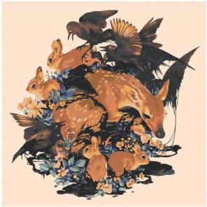 Олененок, кролики и птицы 80х80 Раскраска картина по номерам на холсте