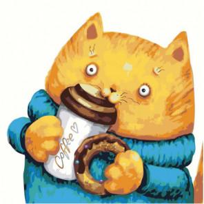 Кот и кофе 100х100 Раскраска картина по номерам на холсте