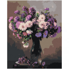 Сирень в вазе 80х100 Раскраска картина по номерам на холсте