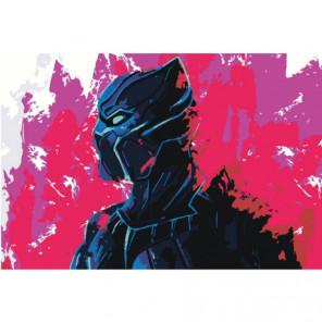 Черная пантера неон 100х150 Раскраска картина по номерам на холсте