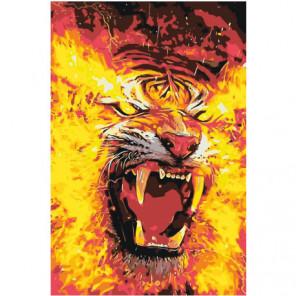 Огненный тигр 80х120 Раскраска картина по номерам на холсте