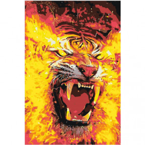 Огненный тигр 100х150 Раскраска картина по номерам на холсте
