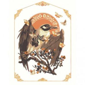 Птица и бабочки 80х100 Раскраска картина по номерам на холсте