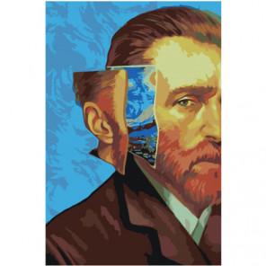 Винсент Ван Гог и Звёздная ночь Раскраска картина по номерам на холсте