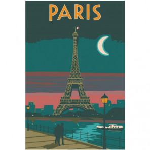Париж под луной Раскраска картина по номерам на холсте