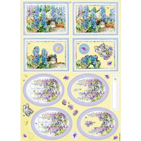 Кошки в саду Набор высеченных элементов для 3D декупажа Docrafts