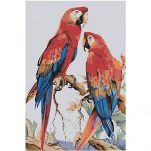 Пестрые попугаи 80х120 Раскраска картина по номерам на холсте