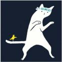 Белый кот с птичкой Раскраска картина по номерам на холсте