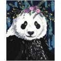 Панда с цветами 80х100 Раскраска картина по номерам на холсте