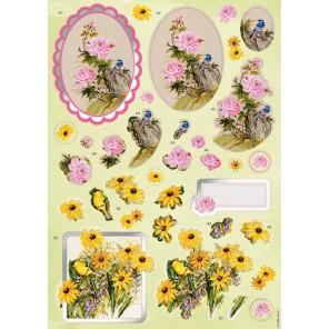 Цветы и птицы Набор высеченных элементов для 3D декупажа Docrafts
