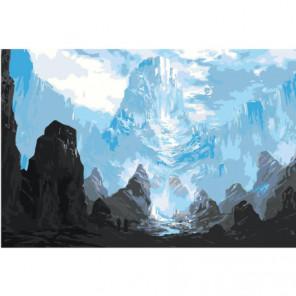 Горы фэнтези 80х120 Раскраска картина по номерам на холсте