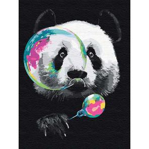 Панда с мыльными пузырями 75х100 см Раскраска картина по номерам на холсте с неоновыми красками AAAA-RS121-75x100