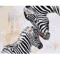 Зебра с детёнышем 80х100 см Раскраска картина по номерам на холсте AAAA-RS104-80x100