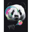 Панда с мыльными пузырями Раскраска картина по номерам на холсте с неоновыми красками AAAA-RS121