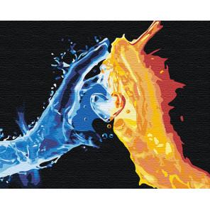 Взаимное притяжение / Огонь и вода Раскраска картина по номерам на холсте с неоновыми красками AAAA-RS102