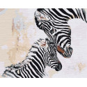 Зебра с детёнышем Раскраска картина по номерам на холсте AAAA-RS104