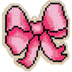 Розовый бант Алмазная мозаика подвеска Гранни Wood W0158