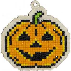 Тыква на Хэллоуин Алмазная мозаика подвеска Гранни Wood W0177