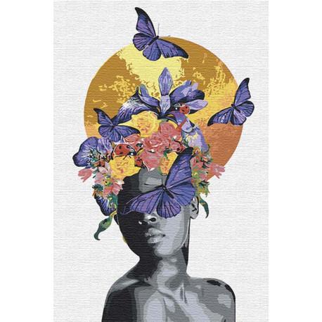 Африканка, луна и бабочки 80х120 см Раскраска картина по номерам на холсте с металлической краской AAAA-RS039-80x120
