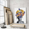 Пример в интерьере Африканка, луна и бабочки 100х150 см Раскраска картина по номерам на холсте с металлической краской AAAA-RS0