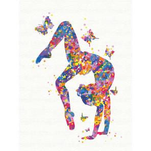 Гимнастка и бабочки 75х100 см Раскраска картина по номерам на холсте с неоновыми красками AAAA-RS123-75x100