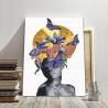 Пример в интерьере Африканка, луна и бабочки Раскраска картина по номерам на холсте с металлической краской AAAA-RS039