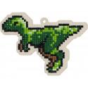Динозавр Раптор Алмазная мозаика подвеска Гранни Wood W0291