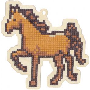 Лошадка Алмазная мозаика подвеска Гранни Wood W0282