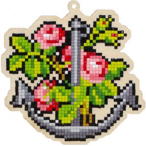 Якорь и цветы Алмазная мозаика подвеска Гранни Wood W0303