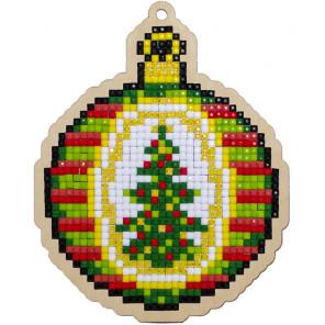 Рождественский шар Алмазная мозаика подвеска Гранни Wood W0314