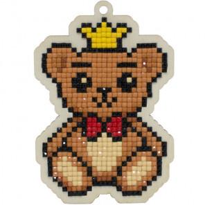 Мишка-принц Алмазная мозаика подвеска Гранни Wood W0436