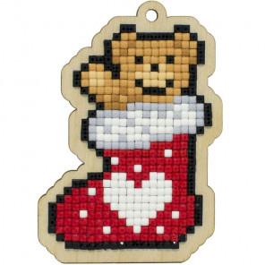 Новогодний мишка Алмазная мозаика подвеска Гранни Wood W0440