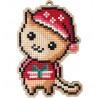 Котик в колпачке Алмазная мозаика подвеска Гранни Wood W0448